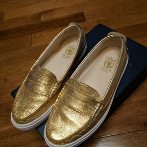 Cole Haan gold pinch weekender leather flat shoes